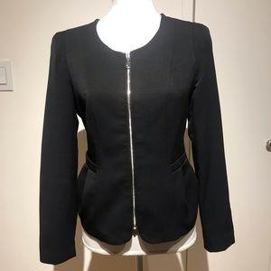 Black blazer with front zipper